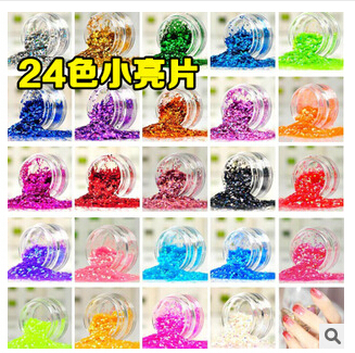 New 24 Color Different Colors HOLOGRAPHIC GLITTER POTS FINE HIGH QUALITY HUGE RANGE OF COLOURS NAIL ART CRAFT , #HN34640(24pots)(China (Mainland))