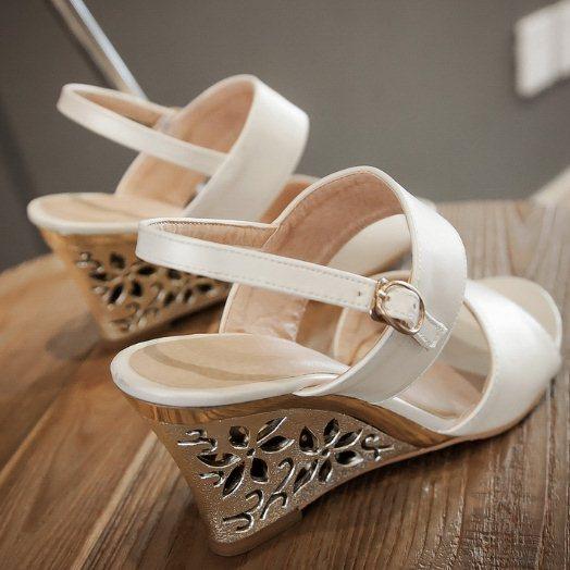 Women Sandals 2015 Sexy Flower Cutout Wedge Sandals Gladiator Roman Strappy High Heeled Summer Shoes Open Toe Platform Sandals