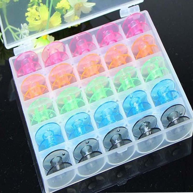 25Pcs/Set Empty Bobbins Sewing Machine Spools Colorful Plastic Case Storage Box for Sewing Machine(China (Mainland))