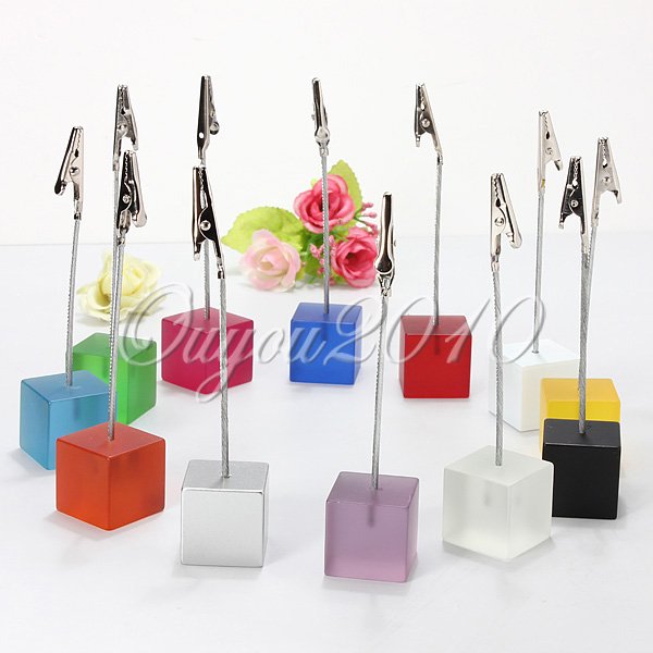 12pcs/lot cube stand alligator wire card note picture memo photo clip holders,table wedding favor place 12 color to choose(China (Mainland))