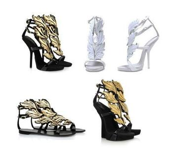 Summer Brand Sexy High Heel Women Gold Leaf  Wedge Shoes Wing Pumps Flame Ankle Strap Flat Sandals Black White size 34-42
