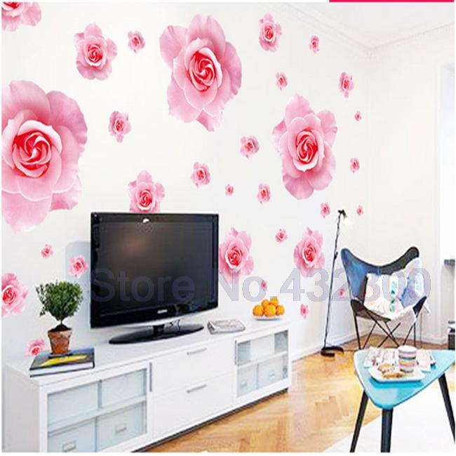 Big Pink Roses Flowers Vinyl Wall Stickers Home Decor DIY