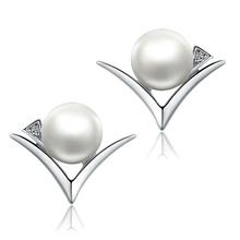 Синя Естественные пресноводные перлы серьги стержня для женщин 925 стерлингового серебра ювелирных украшений для девочек Мама 2017 Новый год подарок(China (Mainland))