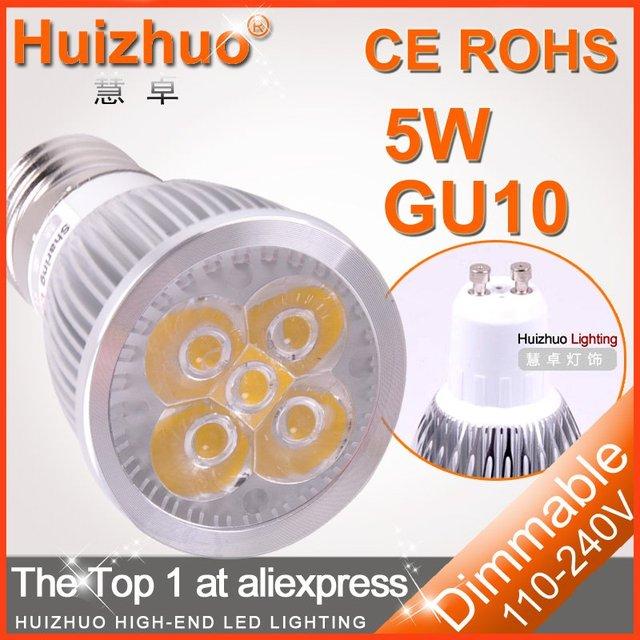 [Huizhuo Lighting]Free shipping 100X High power CREE110V/220V energy saving dimmable led gu10 5w energy saving light