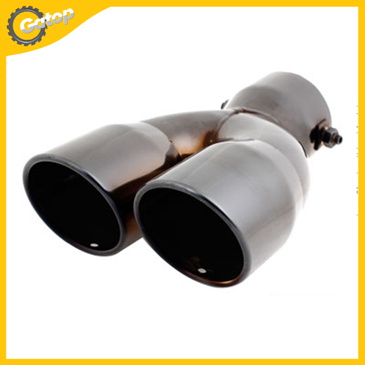 Two Row Tail Gas Exhaust Muffler Tip 2.8 Inlet Dia Black Stainless Steel  for Car Muffler Tail Tip Exhaust Pipe Tip Car Styling<br><br>Aliexpress