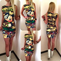 2016 Summer Style Women Dress Mini Mickey Army Green Printed Short Sleeve Sexy Work Office Party
