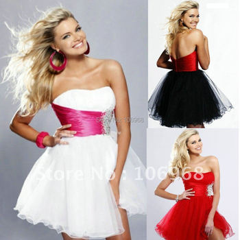 Free shipping Wholesale Strapless Organza  Cocktail Dress Custom made SZCHHS C017