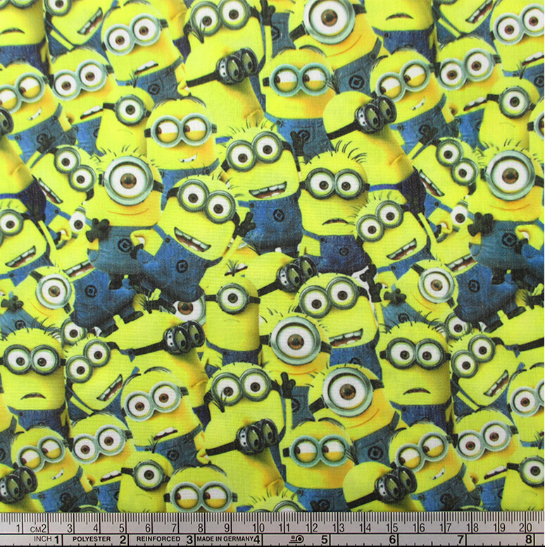 42183 100 147cm cartoon minions fabric patchwork printed cotton fabric for Tissue Kids Bedding textile for