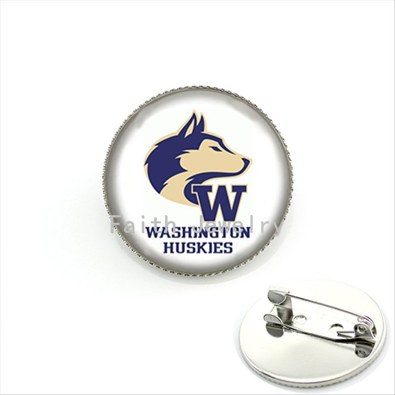Popular rugby jewelry case for Washington Huskies brooches trendy american football sports team brooch pins jewelry gifts NF081(China (Mainland))