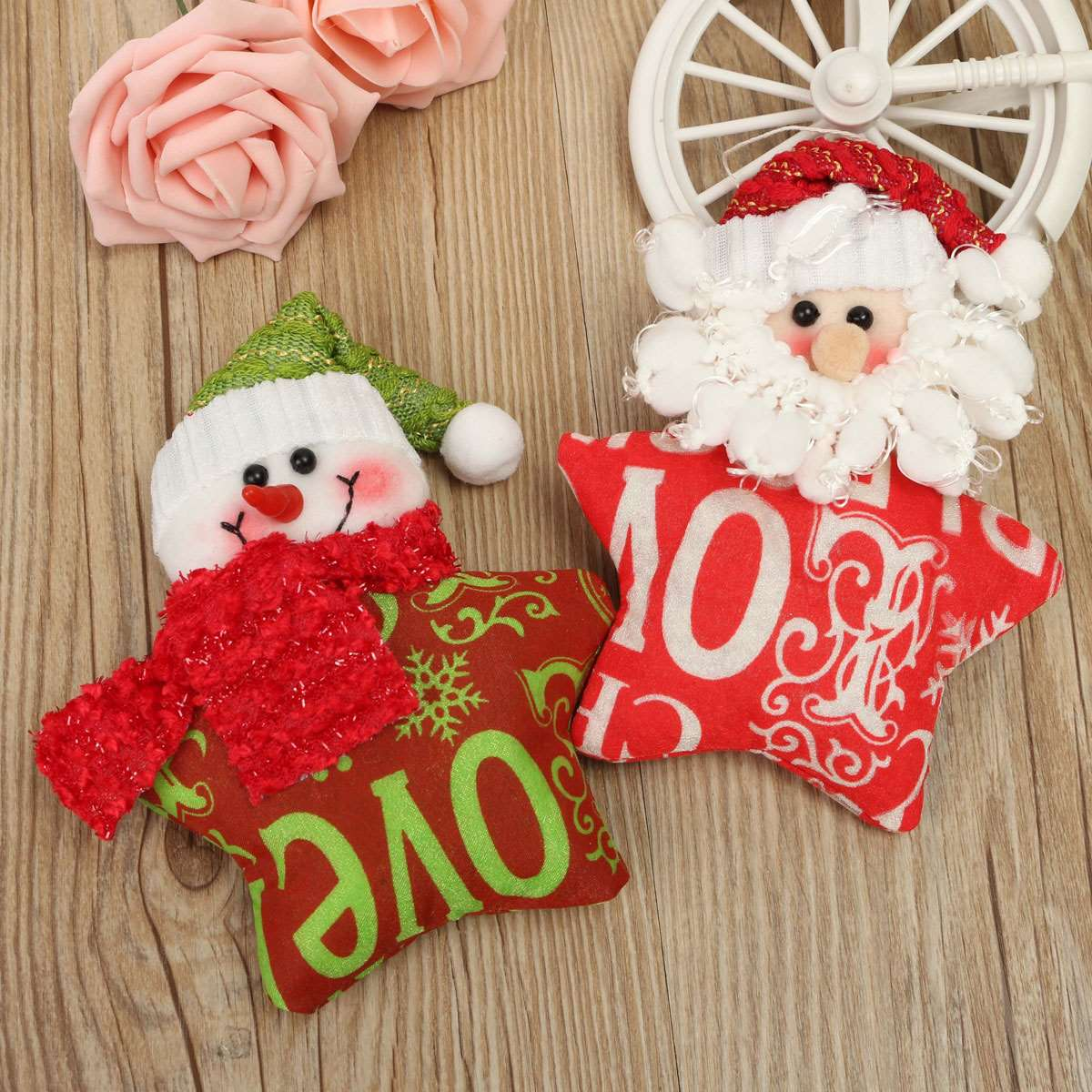 Christmas Xmas Tree Pendant Ornaments Snowman Santa Claus Pentagram Star Hanging Doll Christmas Home Decor Supplies