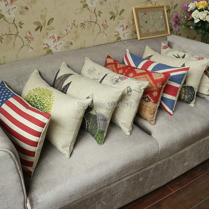 Fashion Free shipping cushion covers,cotton linen printed lumbar series,Pastoral thick sofa pillow case seat cover 30*50 45*45(China (Mainland))