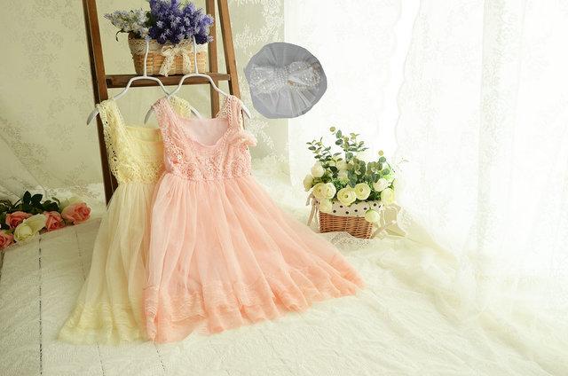 High Quality 100%Cotton Girls flowers dresses 5pcs/Lot Children Crochet Lace Gauze  Wedding Dress size 90-150cm Pearl Brooch