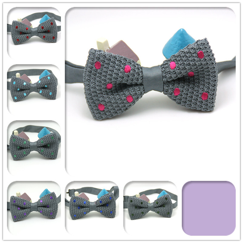 2015 brand new men pure color knitted bowtie tuxedo cashmere grey Polka Dot tie nice quality 7 kinds styles