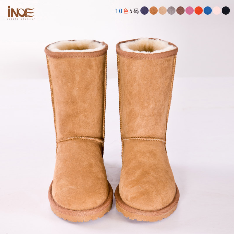 real sheepskin leather snow boots for nature