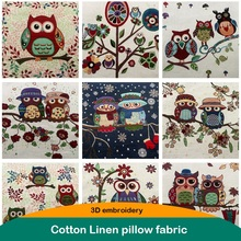 3D embroidery Owl fabric Cotton linen cloth 50*50cm Thick handmade DIY patchwork sewing for Pillow Mat Sofa cover free shipping