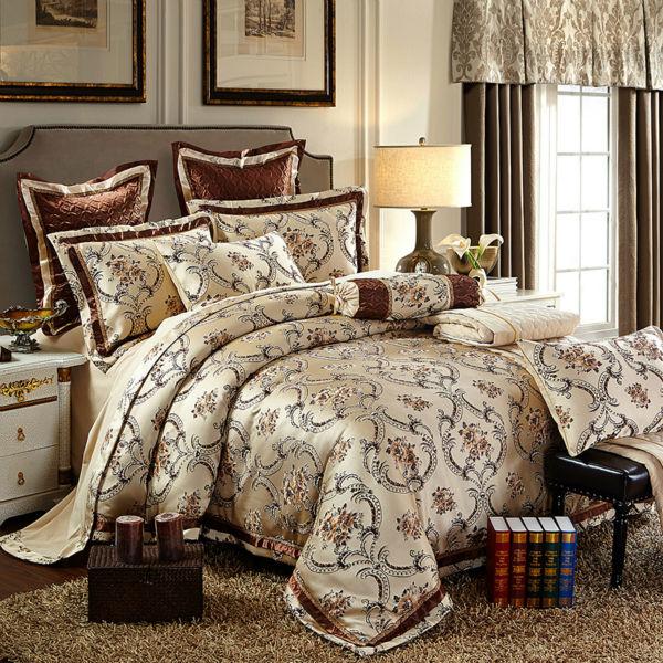 European style silk satin cotton jacquard bedding for European home collection