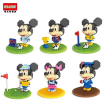 HSANHE World Cup Mickey and Minnie Diamond Building Blocks Mini Action Figure plastic educational toy Compatible with LOZ
