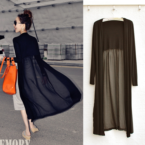2014 spring and summer women's ultra long paragraph sun protection clothing cardigan chiffon patchwork long trench design