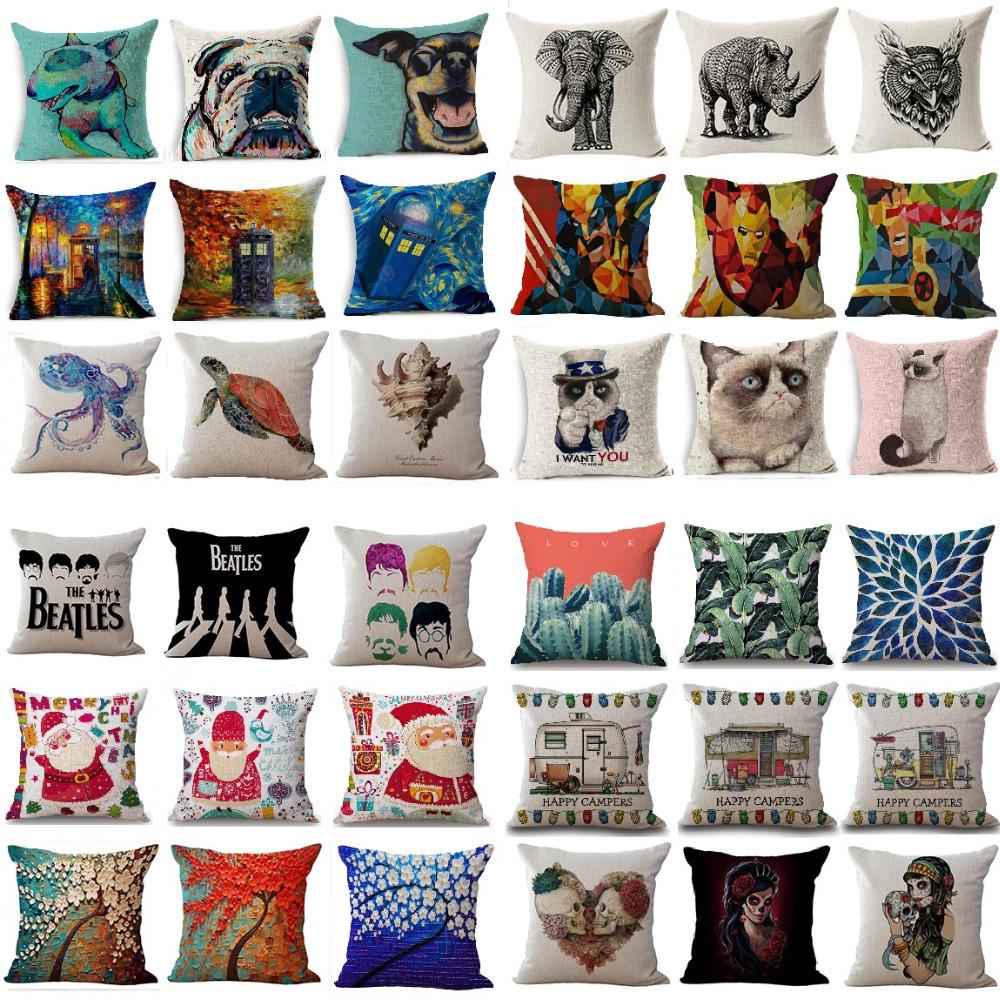 Hot Sale Cushion Cover Vintage Coon Linen Animal Skull Case Home Decoration Car Sofa Decorative Pillowcase almofadas
