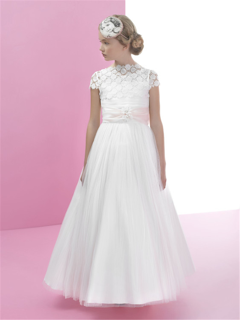 2016 a line lace first communion dresses for girls halter for Girls dresses for a wedding