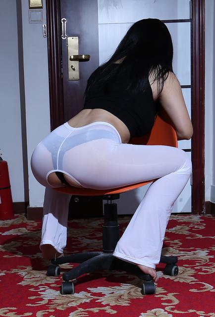 Сексуальный льда шелк открытым промежность прозрачный длинные вспышки брюки видеть ...