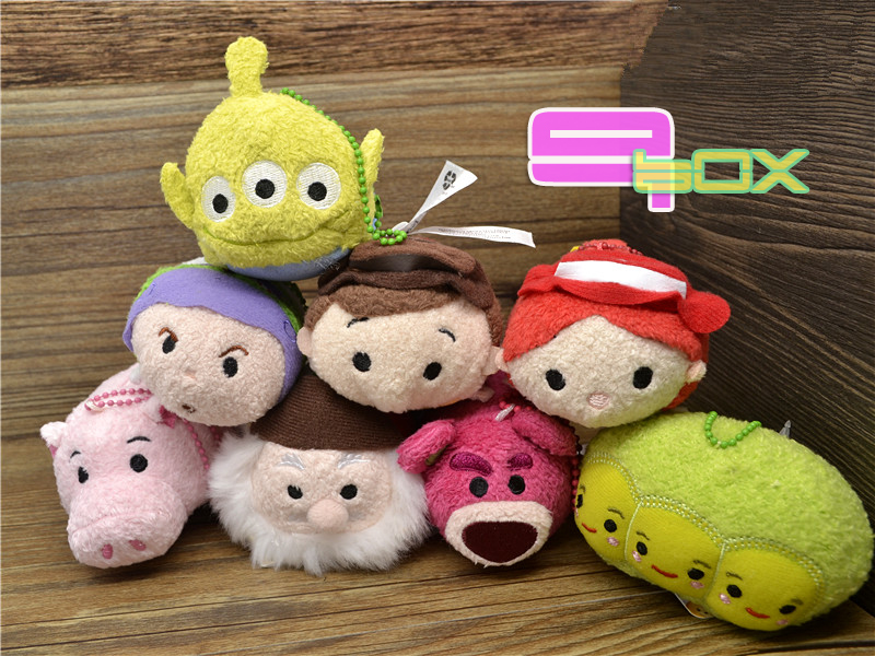 8pcs/Set Tsum Plush Toy Story Jessie Woody Buzz Lotso Bear Alien Peas Hamm Pig Mini Collection Cute phone Cleaner Kid Toys