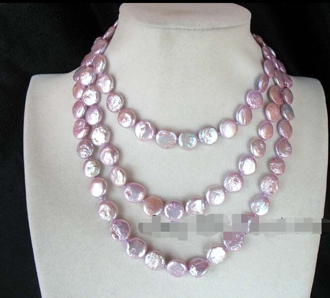 "Free shipping >>>>>freshwater pearl violet coin 10-11mm necklace 48""(China (Mainland))"