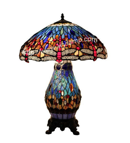 style dragonfly table lamp antique stained glass lamp double lit lamp. Black Bedroom Furniture Sets. Home Design Ideas