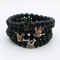 Micro Pave Black CZ Zirconia Gold Color King Crown Charm Bracelet Men Dull Polish Matte Stone