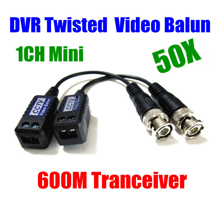 50PCS 25PAIR 1CH Mini CCTV Camera DVR Twisted Pair BNC Passive Video Balun BNC Cat5 rj45 UTP(China (Mainland))