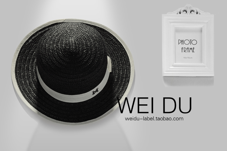The French M brand exclusive customized small flat hat straw hat and real ladies fan children travel cap(China (Mainland))
