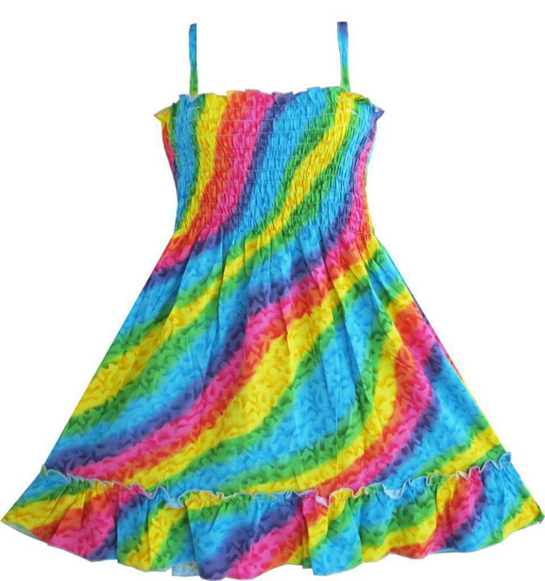 Sunny Fashion Girls Dress Rainbow Smocked Halter Baby Kids Children Clothes 3-10 Girl Summer Princess Dresses Vestidos(China (Mainland))