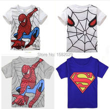 New 2017 boy's t shirt Spiderman cotton short-sleeved t-shirt printing children's cartoon gray kids boys child's clothes(China (Mainland))