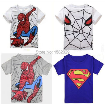 New 2017 boy's t shirt popular hero cotton short-sleeved t-shirt printing children's cartoon gray kids boys child's clothes