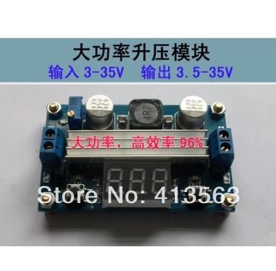 Mini LTC1871 100W/6A DC Power Source Step Up Converter DC DC 3.5V-30V 6A 100W Adjustable Converters +Red LED Voltmeter 30403(China (Mainland))