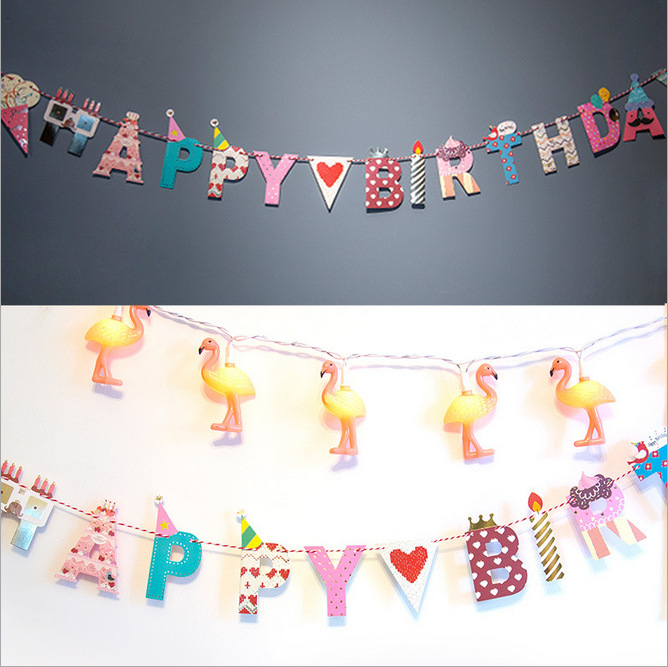 Happy Birthday Happy Party DIY Letter Arts and Crafts Decorative Paper Flags with Thread for Holiday and Birthday(China (Mainland))