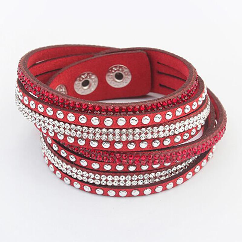 Multilayer Wrap Leather Bracelets Women Men Crystal PU Cuff Bangles Rhinestone Charm Europe Link Chain Wristbands Punk Jewelry(China (Mainland))
