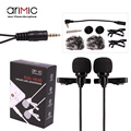 AriMic Dual Head Clip on Lapel Microphone Lavalier Omnidirectional Condenser Recording Mic for iPhone Sumsang DSLR