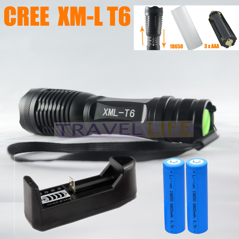FOR RUSSIAN UltraFire 12W 1800 Lm CREE XM-L T6 Focus Adjust Zoom Led mini Flashlight Torch ( 2*18650 + Charger ) Free Shipping