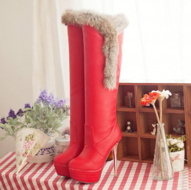 Free Shipping  Winter Fashion Over-the-Knee Boots for women Flatforms 13.5cm Thin Heels Shoes EUR size 32-43 (Black, red, white)<br><br>Aliexpress
