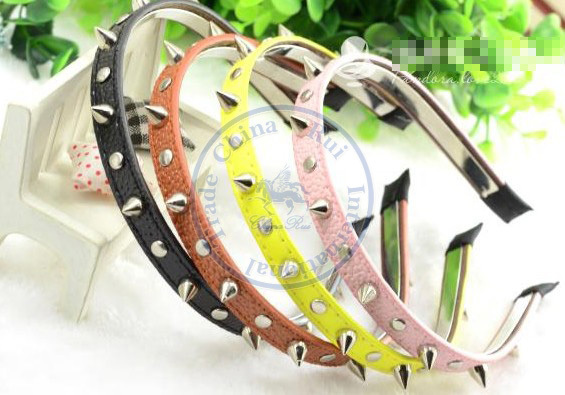 PU leather rivet Hairband tie hair hand hoop tools Maker bangs forehead decoration head band CN post(China (Mainland))