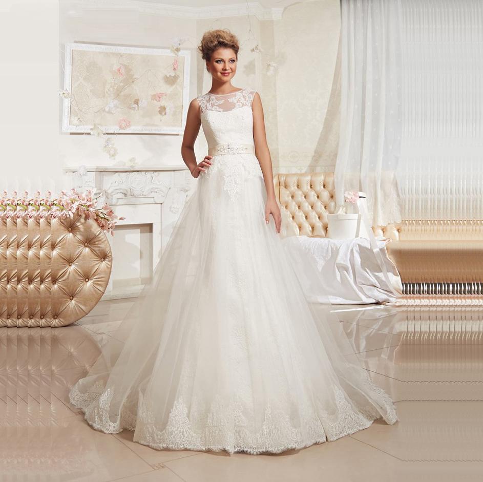 Vestido de noiva 2016 lace bridal dress with belt elegant for Belt for lace wedding dress