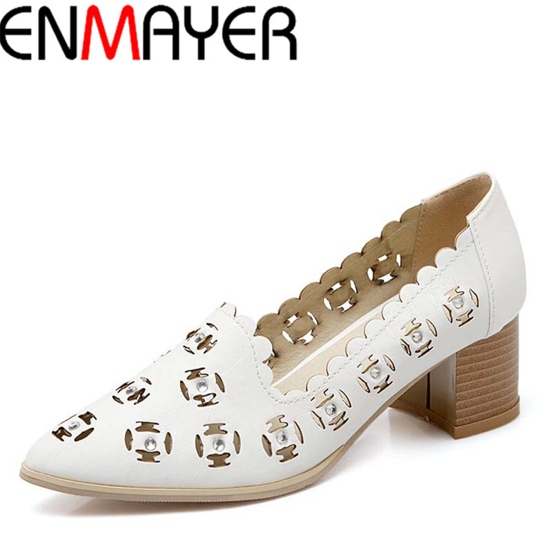 2016 New Pumps High Quality 3 Color Shoes Women Pumps Pointed Toe Thick High Heels Spring Summer Casual Shoes Pumps Sale Hot<br><br>Aliexpress