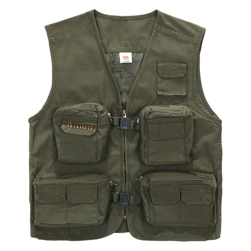 Men Fishing Vest Multifunctional Quick-Drying Fly Fishing Vest Jacket Summer Outdoor Army Green Photography Vest Coats