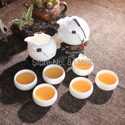 White and Green Porcelain Tea Pot Set without Tea Tray Home Garden Drinkware Free Shipping