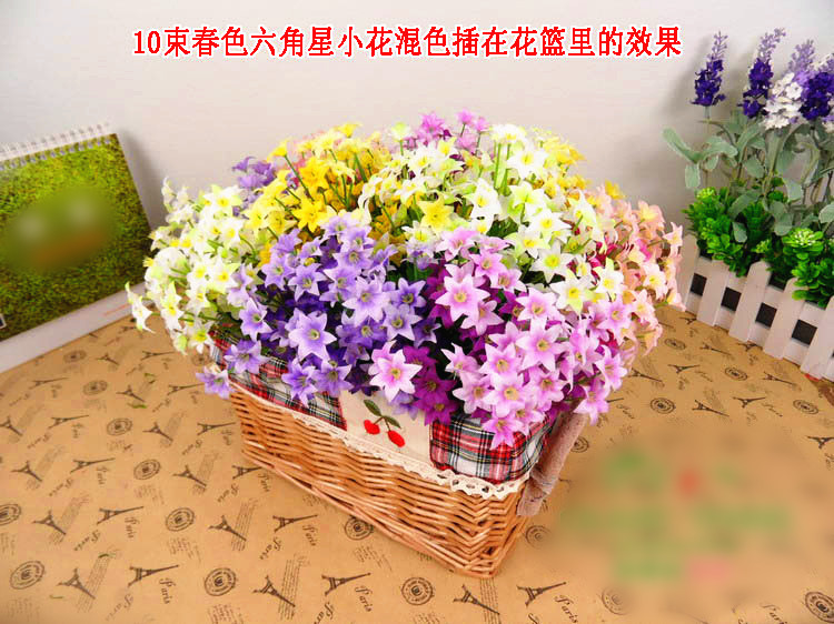 Spring small star artificial flowers home decoration silk flowers  plastic flowers mix color 15pcs/lot