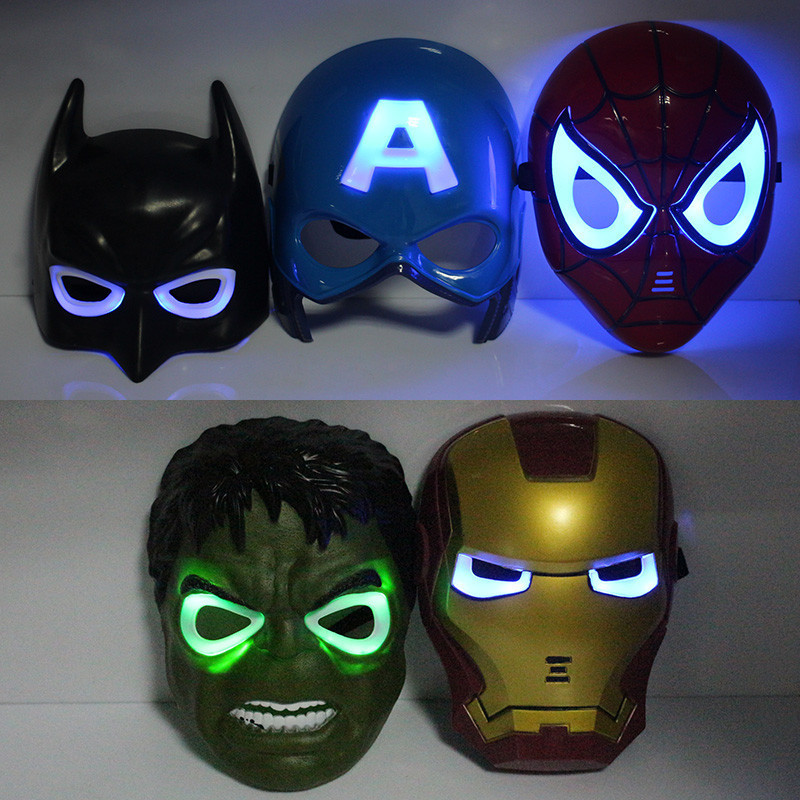 5pcs/lot New Fashion Flash The Avengers Spider Man Iron Man Hulk Batman America Captain Mask Free Shipping(China (Mainland))