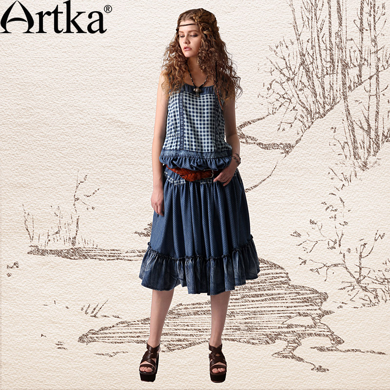 Artka Women'S Summer Gypsy Sleeveless Blue And White Check Print Cinch Waist Ruffle Hem Denim Dress LN18734X(China (Mainland))