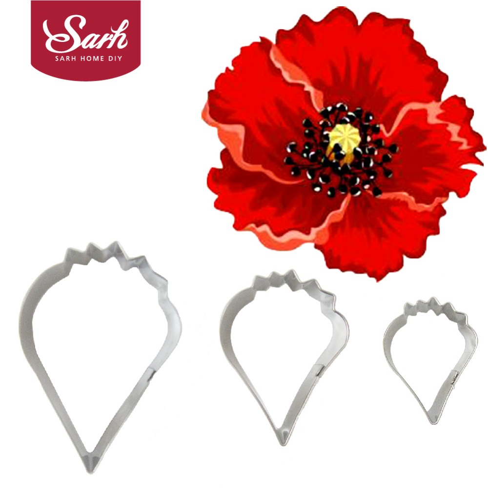BXG312 Metal Stainless Steel Tools Poppy Petals Flower Cookie Cutters Set Home Furnishing Products Kitchen Baking Supplies(China (Mainland))