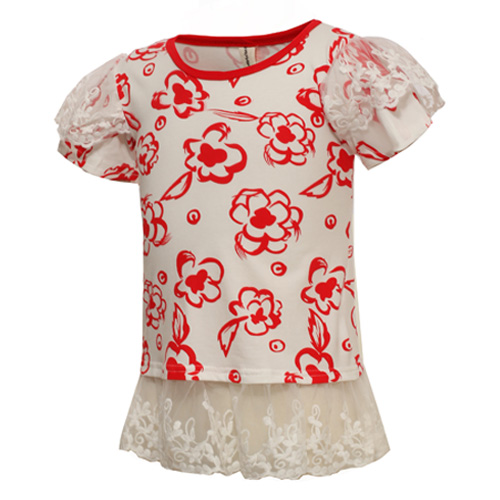 Free Shipping!lace Girls T shirt Cotton Children Kids Summer T Shirt Children Girls Shirts Clothes Roupas Infantis(China (Mainland))